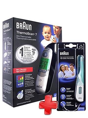 BRAUN ThermoScan 7 Thermomètre avec Fonction Age Précision + Thermometre Flex10 Seconde Braun PRT 1000