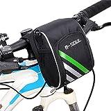 Gimitunus Bike MTB Lenkertasche, Wasserdichte Mountainbike Tasche Multifunktionale Bike Bag, Abnehmbare Straps und regendichte Abdeckung für Erwachsene und Kinder