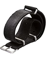 Bracelet de montre ZULUDIVER cuir véritable NATO Noir 20mm