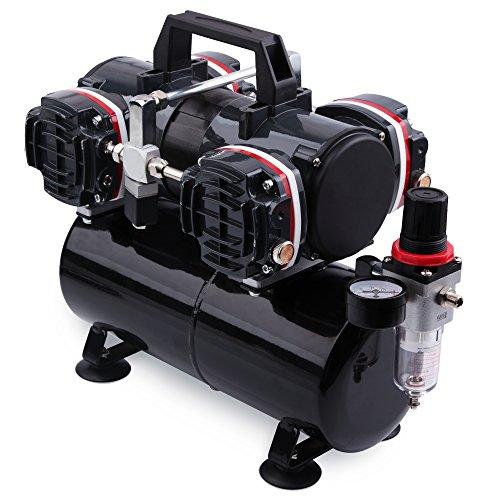 Preisvergleich Produktbild AWM Airbrush Kompressor AMC-33B Ölfrei, 1/4PS, 4 Zylinder Kolben-Compressor inkl. Druckregler