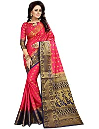 SATYAM WEAVES WOMEN'S ETHNIC WEAR JARI BORDERED KANJIVARAM COTTON SILK MAGENTA-BLUE COLOUR SAREE.
