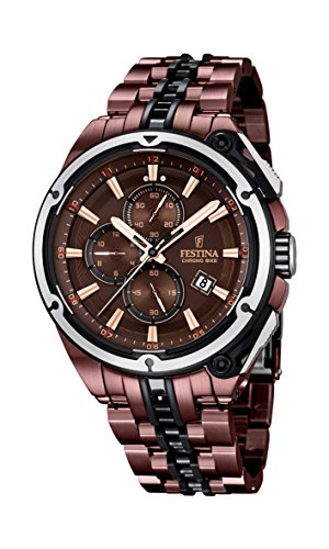Festina Limited Edition Chrono Bike 2015 Men's Quartz Watch with Brown Dial Chronograph Display and Brown Stainless Steel Plated Bracelet F16883/1