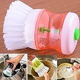 Wokee Kunststoff Scheuerbürste,Handwaschbürste - Reinigungsbürste - Waschbürste, Küchen-Spülmittel-Topf-Spülbürste mit Spülmittel-Seifenspender