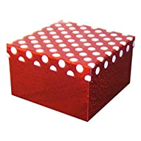 365 Floral and Craft Supplies Quality Holographic Decorative/Polka Dot Gift Boxes Present Christmas Storage Box (Box 6-22cm x 22cm x 13.2cm, Red & White Polka Dot Shiny)