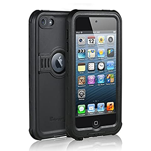 Coque Waterproof pour iPod 6 / iPod 5, [Nouveaux] Merit Chevalier Série étanche antichoc Dirtproof Cover Case Snowproof avec Béquille pour Apple iPod Touch 5ème / 6ème Génération (Noir)