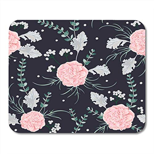 AOCCK Gaming Mauspads, Gaming Mouse Pad Pink Camellias Flowers Dusty Miller and Eucalyptus Leaf Winter Floral 11.8