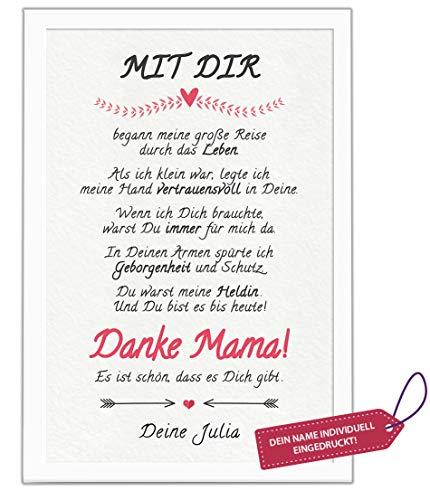 Danke Mama! Bild personalisiert mit Deinem Namen. MIT Rahmen. Geburtstags-Geschenk für Deine Mutti. Dankeschön für die Beste Mutter. Geschenkidee zum Geburtstag