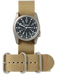 Bertucci h13463Unisex titanio banda de color caqui de patrulla de patrimonio negro Dial reloj