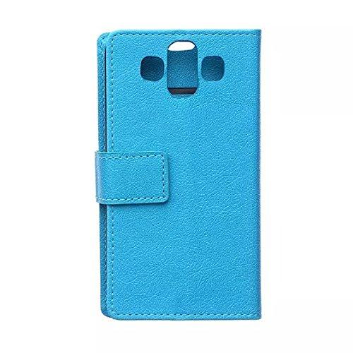 Solid Color Kas Textur Muster Leder Schutzhülle Case Horizontal Flip Stand Case mit Kartensteckplätzen für LG AKA ( Color : Purple , Size : LG AKA ) Blue