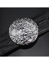 c2b7d369dd0 FANG-Studio - Ceinture - Homme 125cm Round Buckle Dragon Silver Buckle