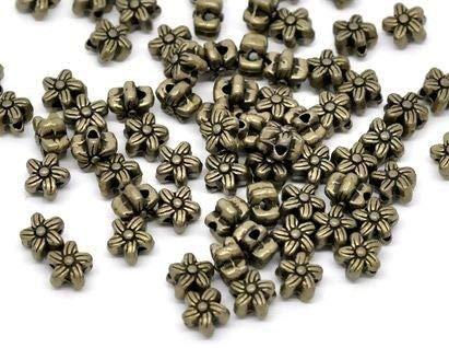 Pax 100 Perles intercalaires Passants Fleurs 7mm Metal Couleur Bronze S113468