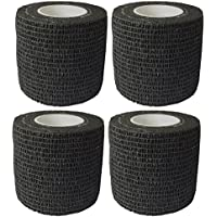 Lommer 4Ruedas 5cm * 4.5m klebev erband Auto-Adhesivos Tape Vendaje Sport Auto-Adhesivos Deportes Vendaje para Muñeca Dedos, Tobillo, Manos, Color Negro, Tamaño 7.5cm x 4.5m