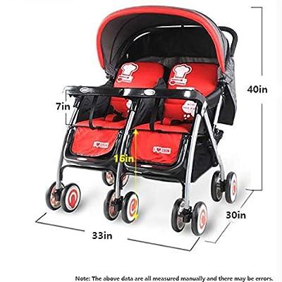 Cochecito Doble, Cochecito Doble Tándem Con Respaldo Ajustable, Diseño Plegable Para Facilitar El Transporte (rojo)