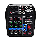 XiuFen Sound Mixing Console with Bluetooth Record 4 Channels Audio Mixer for Stage Performance Family K Songs EU Plug