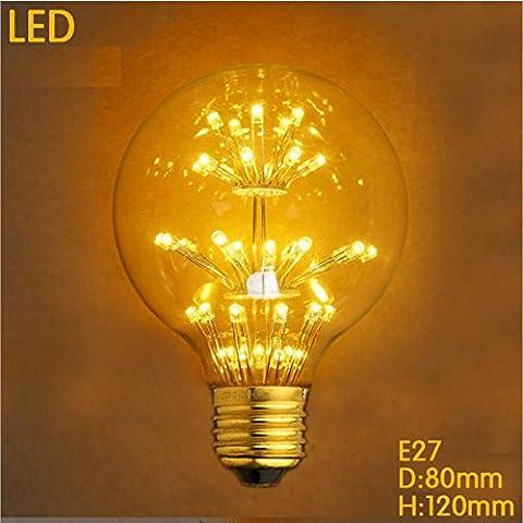 Vintage Edison Glühbirne LED Glühlampe Dimmbar E27 G80 3W 300lm 2300k Retro-Kugel-Lampe Mit Sterne Leuchtmittel [Energieklasse A++]