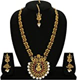 #10: Matushri Art Indina Traditional Temple Jewelry of God Laxmi with Dancing Peacock Necklace Set for Women and Girls