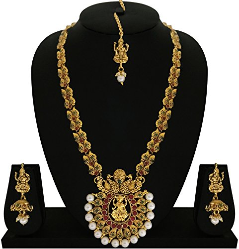 Matushri Art Indina Traditional Temple Jewelry of God Laxmi with Dancing Peacock Necklace Set for Women and Girls