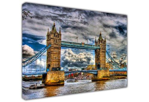 Stadtbild auf Leinwand City View London Tower Bridge Thames River Foto Print Bilder Home Decor, canvas holz, 60 x 76 cm -