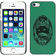 All Phone Most Case / Hard PC Metal piece Shell Slim Cover Protective Case Tasche Schutzhülle Hülle Für Apple Iphone 5 / 5S Green Cat Death Bones Skeleton Black