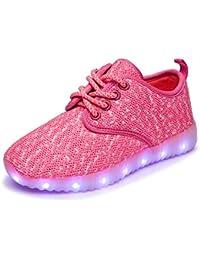 KE1AIP Kinder Damen High Top USB Lade LED Schuhe Lights Up
