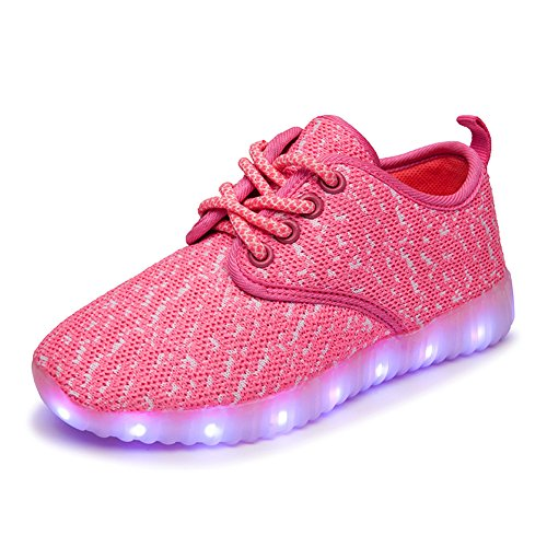 FLARUT LED Chaussures Garçons Filles Chaussures Flashing Chaussures USB Charging Light Up Sneakers Chaussures colorées Glowing Rose