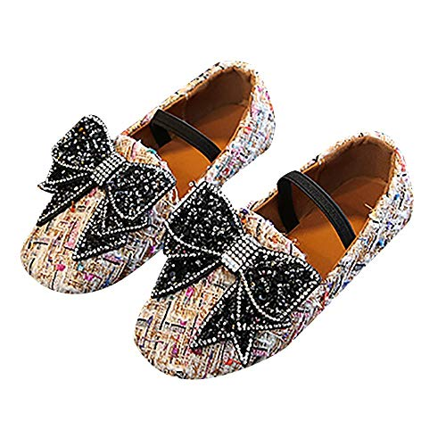 Quaan Herbst Kinder Kleines Kind Kinder Mädchen Bowknot Kristall Bling Single Prinzessin beiläufig Schuhe Tier Weich Sole Schuhe Rutschfest Gemütlich beiläufig Einfach Atmungsaktiv(26-36)