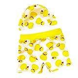 Babyicon Baby Jungen Gelbe Ente Badehose Strand Kurze Hose Bademode Hose mit Hut (2XL: 7-8 Jahre alt)