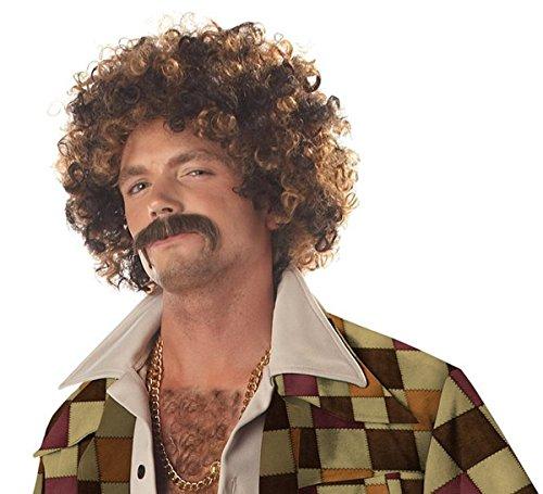 Männer Curly Rocker Hitzebeständige Perücken Natürlich Haar Perücken mit Perücke Cap UW023 (Mann Getragen In Box Kostüm)