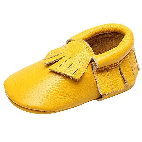 Shenn Babys Mädchen Niedlich Quasten Teilt Leder Sicherheit Zertifiziert Krabbel- & Hausschuhe Gelb