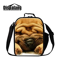 GIVE ME BAG Generic Cute Pug Dog Lunch Bags Pattern for Girls School Animal Cooler Bags for Children Small Kids Meal Bag