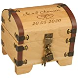 Schatztruhe zur Hochzeit mit Gravur - 2 Namen 1 Datum 2 Herzen - Geldgeschenke zur Hochzeit Verpackung I Hochzeitsgeschenk für Brautpaare