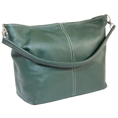 DELARA Borsa shopper in pelle, Made in Italy. Colore: turchese verde scuro