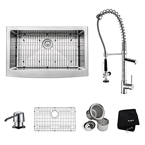 Kraus KHF200-33-KPF1602-KSD30CH Farmhouse Single Bowl Stainless Steel Kitchen Sink with Kitchen Faucet and Soap Dispenser, 33, Chrome by Kraus