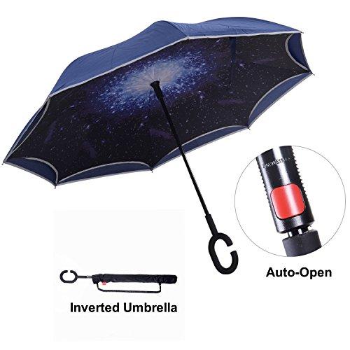 Umgekehrter Regenschirm mit Reflexstreifen, Inverser Autoregenschirm mit doppelten Schichten, TravelEase Auto-öffnen, selbststehender Regenschirm mit C förmiger Krücke plus eine Tragetasche für die freie Hände (Sternhimmel Blau) (Hut Rosa Fabelhafte)
