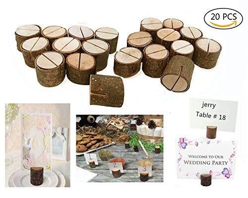 Dproptel - Segnaposto da tavolo rustico con supporto per numero o nome e base d'appoggio in vero legno, per matrimoni, decorazione per feste, supporto a clip per bigliettini decorati, foto, memo, note Wood Holder