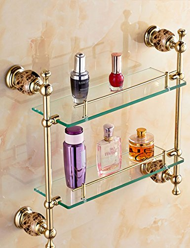 Salle de Bain en Verre Rack de cosmetiques de cuivre Complet étagères de Miroir de Maquillage 430 * 415MM 2