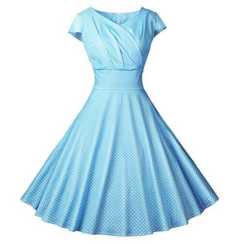 Vectry 1950er Vintage Retro Cocktailkleid Rockabilly V-Ausschnitt Faltenrock Damen Tupfen Vintage Kleid Sommerkleid Damen Knielang Kleid Elegant 50er Jahre Kleider Petticoat Kleider(Blau, Large)