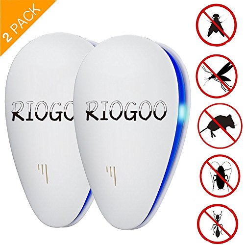 2 Pack Repellente ad Ultrasuoni, Spider Repellent Extreme Power Eco-Friendly Dispositivo a ultrasuoni LED - Eliminare tutti i tipi di insetti e roditori 100% sicuro per gli esseri umani e gli animali