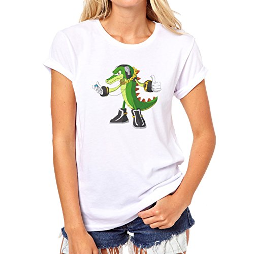 Crocodile Green Reptile Dino Music Damen T-Shirt Weiß