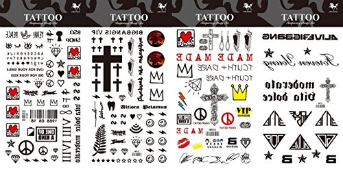 8pcs diversi durevoli e realistico temp tatuaggio di design in 1 pacchetto, tra cui diamante e totem, croce tattoo sticker