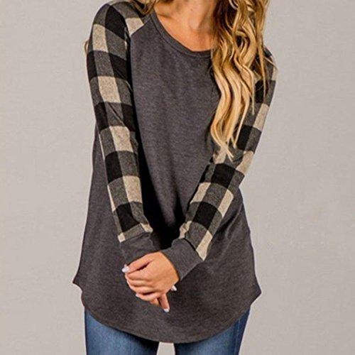 AmazingDays Femme Chemisiers T-Shirts Tops Sweats Blouses Sweat-shirt à manches longues à col rond et à manches longues gray
