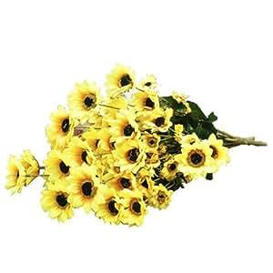 Sonline 1 pezzo di Girasole artificiale Pianta simulazione con 54 fiori decorazione floreale - Giallo