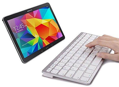 SPARIN® Mini Bluetooth Keyboard for Samsung Galaxy Tab S2 9.7/8.0 Inch, Galaxy Tab E, Galaxy Tab A 9.7/8.0 Inch, Galaxy Tab 4 10.1/8.0/7.0 Inch, Galaxy Tab S 10.5/8.4 Inch, and Other Tablets, White