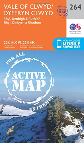 OS Explorer Map Active (264) Vale of Clwyd, Rhyl, Denbigh and Ruthin (OS Explorer Active Map)