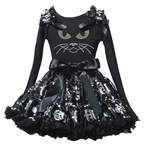 Petitebelle Halloween tête de chat Noir L/S T-shirt Tête de mort Couronne Blanc Jupe 1-8Y - Noir - XL
