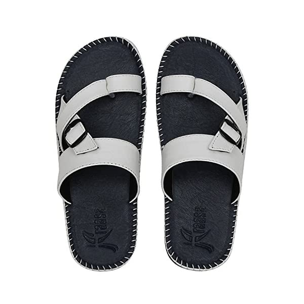Kraasa Men's Black Synthetic Outdoor Slippers