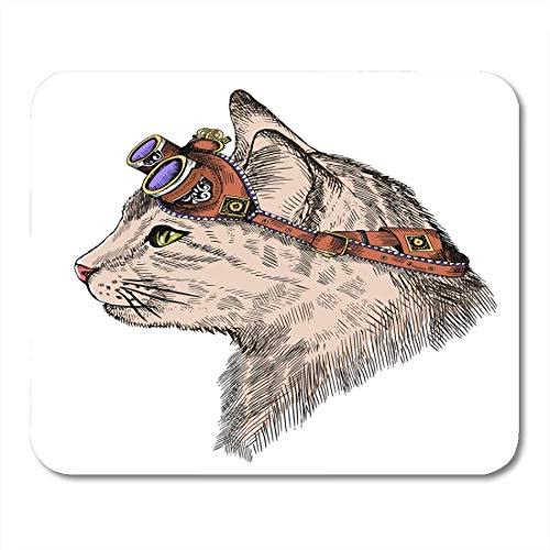 Luancrop Mausunterlage-Katzen-Porträt-Dampf-Punkgelbe Augen und Retro Gläser Mousepad für Notizbücher, Tischrechner-Mausunterlagen, Bürozubehöre