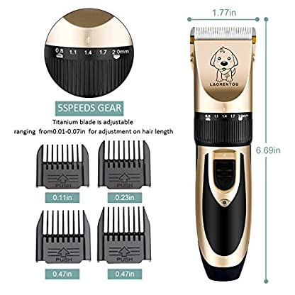 Dog Clippers, Professional Electric Cat Dog Grooming Clippers Kit with 4 Comb/Scissors/Nail File/Claw/Hair Clippers… 2