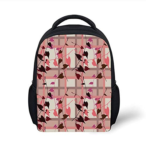 Kids School Backpack Coral Decor,Heart Shaped Swirling Leaves Over Striped Square Lines Urban Life Graphic Image,Coral Grey Plain Bookbag Travel Daypack