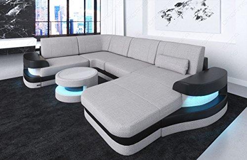 Sofa Dreams Designer Wohnlandschaft Modena U Form in Stoff und LED Beleuchtung